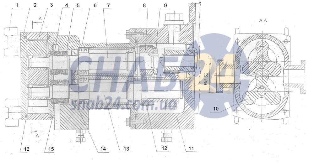 Деталировка роторного насоса В3-ОР2-А2